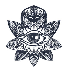 Eye on lotus tattoo vector