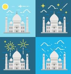Flat design 4 styles of Taj Mahal India vector image