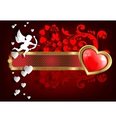 frame with hearts and Cupid vector image vector image