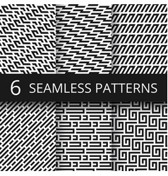Funky line geometric seamless patterns vector