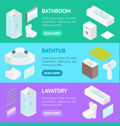 Furniture bathroom interior banner horizontal set vector