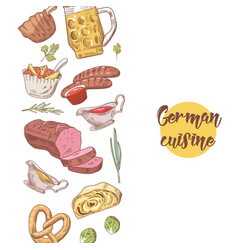 German traditional food hand drawn background vector