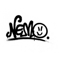 graffiti tag nemo sprayed with leak in black vector image vector image