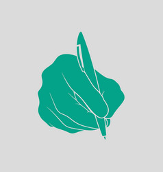 Hand with pen icon vector