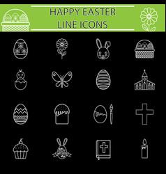 happy easter line icon set vector image vector image