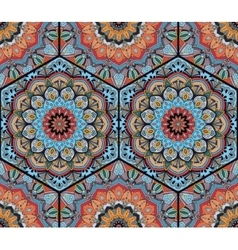 Honey comb hex pattern flower mandala blue orange vector