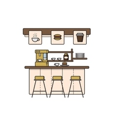 line art coffee house interior vector image vector image