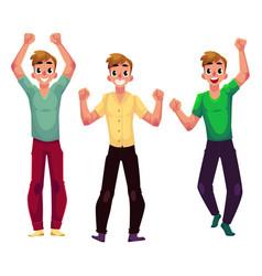 Men boys guys friends rejoicing cheering vector