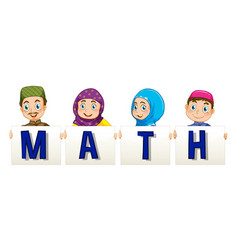 muslim family holding sign for word math vector image