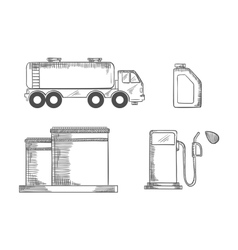 Oil industry and transportation sketched icons vector image