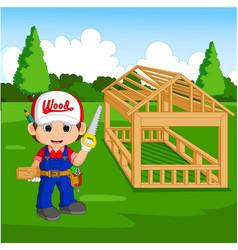 professional carpenter cartoon vector image