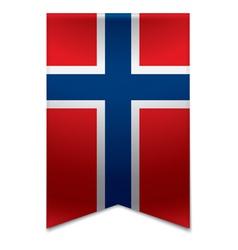 Ribbon banner - norwegian flag vector image
