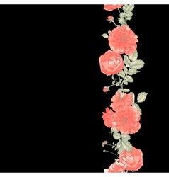 Seamless border of red roses on dark background vector