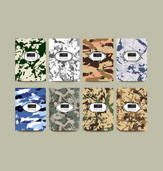 Set of vintage creative cards with camo vector