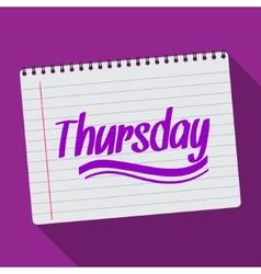 Spiral calendar thursday notebook notepad long vector image