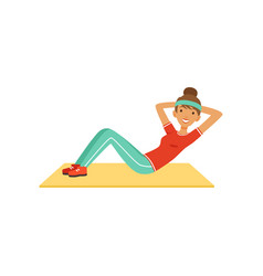 Sportive young woman character doing an abdominal vector