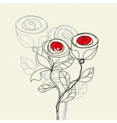 stylized rose flowers vector image vector image