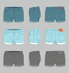 Women denim shorts vector