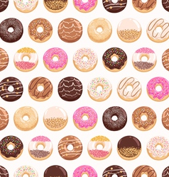 Yummy donuts seamless pattern vector image