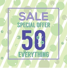 Special offer 50 percent on colorful green bubbles vector