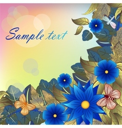 Autumn background with blue flowers butterflies vector image