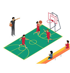 basketball training with three players and coach vector image
