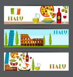 Italy banners design italian symbols and objects vector