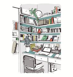 modern interior home library bookshelves vector image