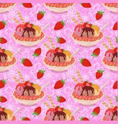 seamless ice cream and strawberries vector image