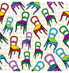 Vintage chairs seamless pattern background vector
