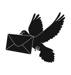 post pigeonmail and postman single icon in black vector image