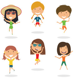 Happy cartoon girls jumping vector