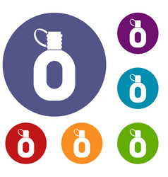 Tourist flask icons set vector