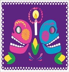 Skulls with flowers 2 vector