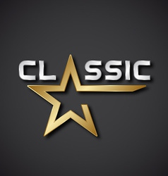 Classic golden star inscription icon vector