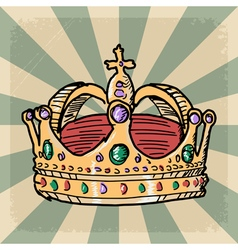 Vintage grunge background with crown vector