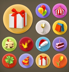 Holiday and gifts long shadow icon set vector
