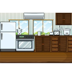 Kitchen full with furnitures and equipments vector