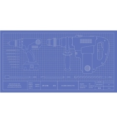 Drill hammer drill and bits engineer blueprint vector
