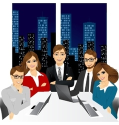 Five businesspeople at office in the evening vector