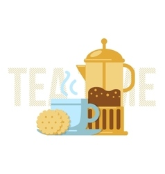 Tea cup and french press vector