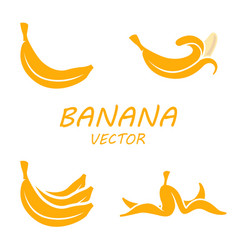 Flat banana icons set vector