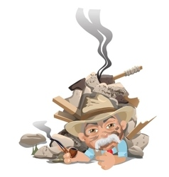 Old smoking man in hat under rubble of house vector
