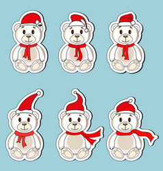 bears white labels with christmas hats of santa vector image vector image