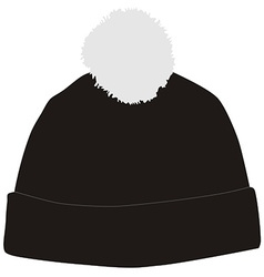 Black winter hat with pompom vector
