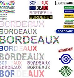 Bordeaux text design set vector
