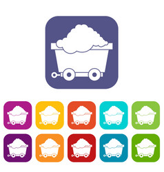 Cart on wheels with coal icons set vector