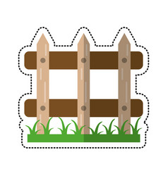 cartoon wooden fence garden image vector image