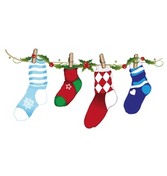 Christmas socks holly vector image vector image