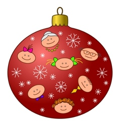christmastree decoration with faces vector image vector image